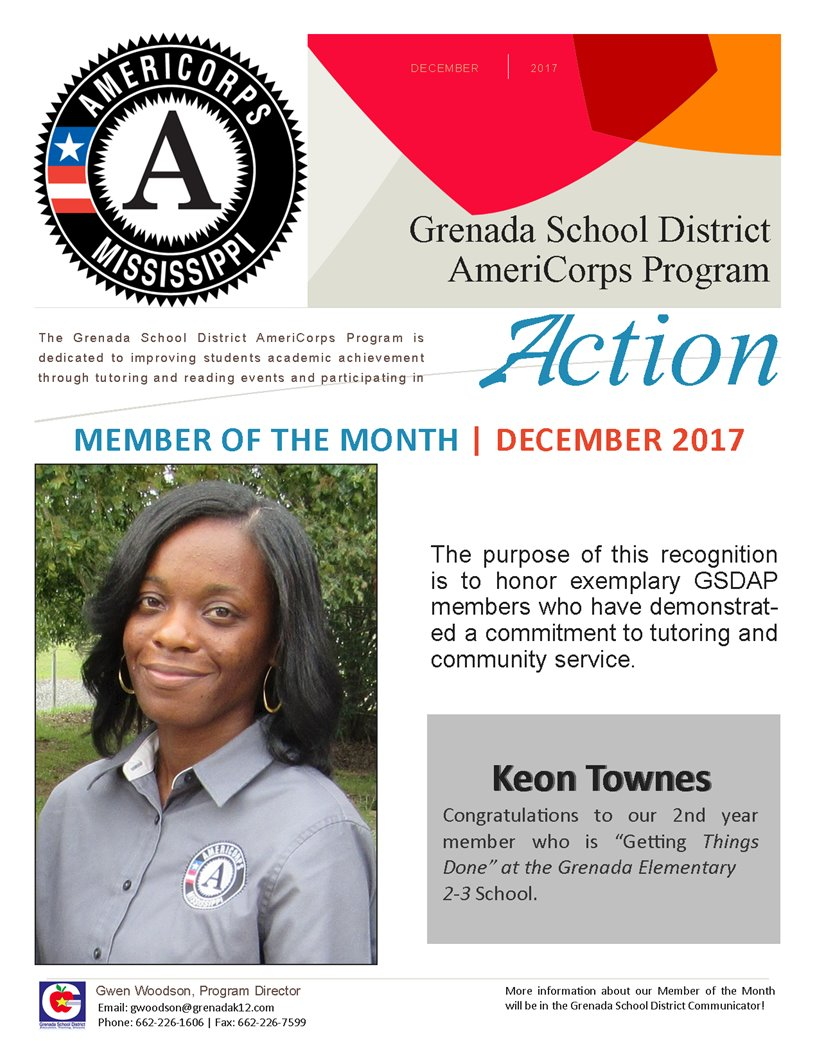 Dec. Member of the Month Keon Townes